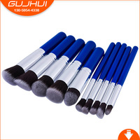 GUJHUI 10pcs Blue Handle MINI Five Five Small Professional Makeup Brush Suit Eye Shadow Brush Base