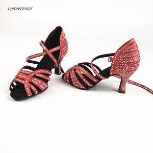 Женская Профессиональная Обувь для танцев, Красная Блестящая и Черная подошва, для бальных танцев, сальса, Бачата, для латинских танцев, Кра...