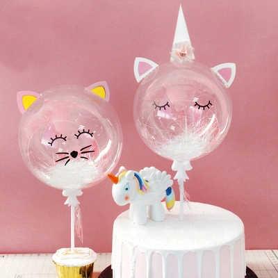Unicorn Kue Selamat Ulang Tahun Perlengkapan Pesta Kucing Cake Topper Dekorasi Anak Anak Nikmat Transparan Balon Cupcake Topper