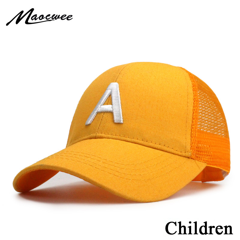 Cute children   baseball     caps   baby girls sun visor hats boys snapback casquette gorras Letter A embroidery kids summer mesh   cap