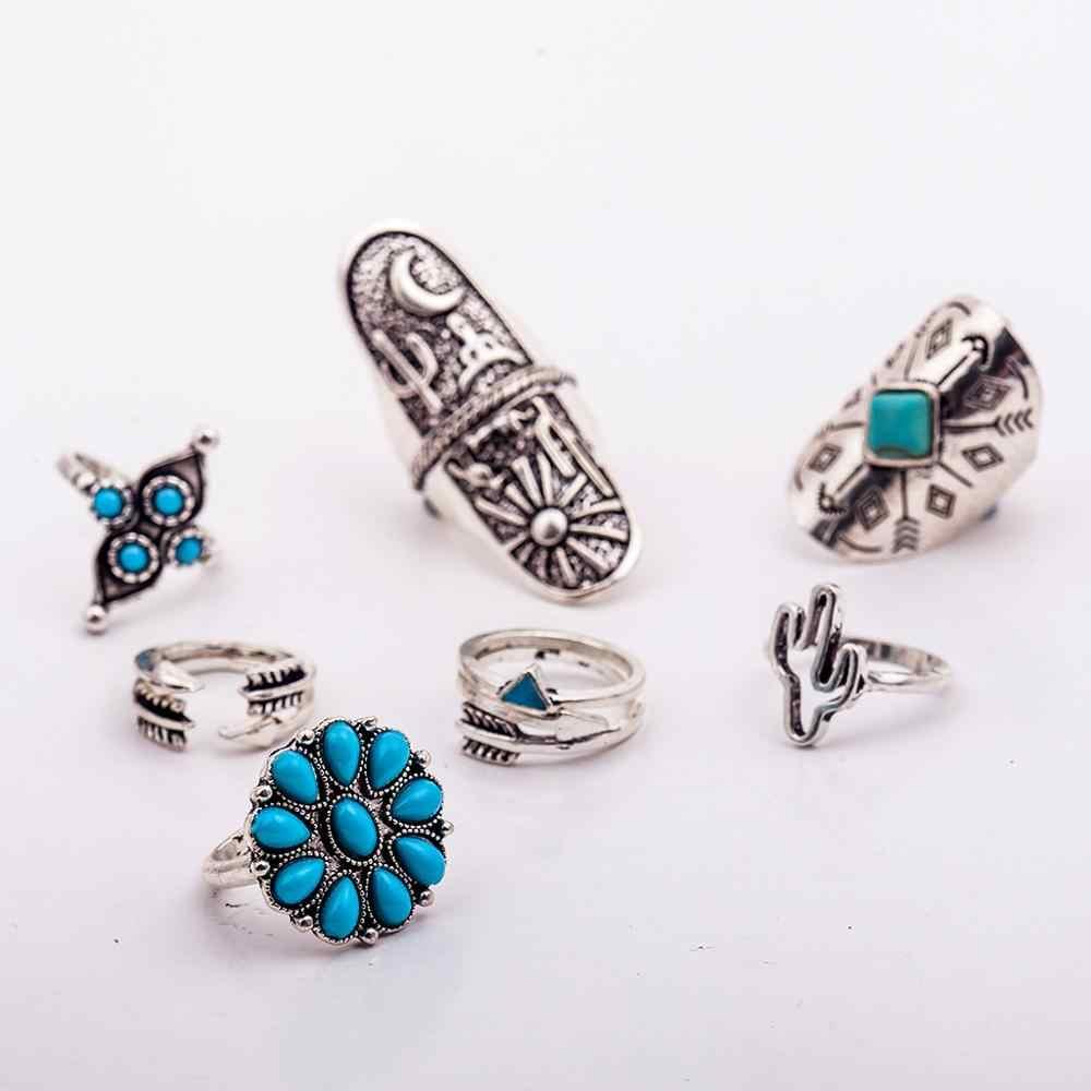 9ชิ้น/เซ็ตวินเทจแหวนชุดที่ไม่ซ้ำกันแกะสลักโบราณเงินแหวนไม้สำหรับผู้หญิงยิปซีMidi Anel Bohoเครื่องประดับบีช