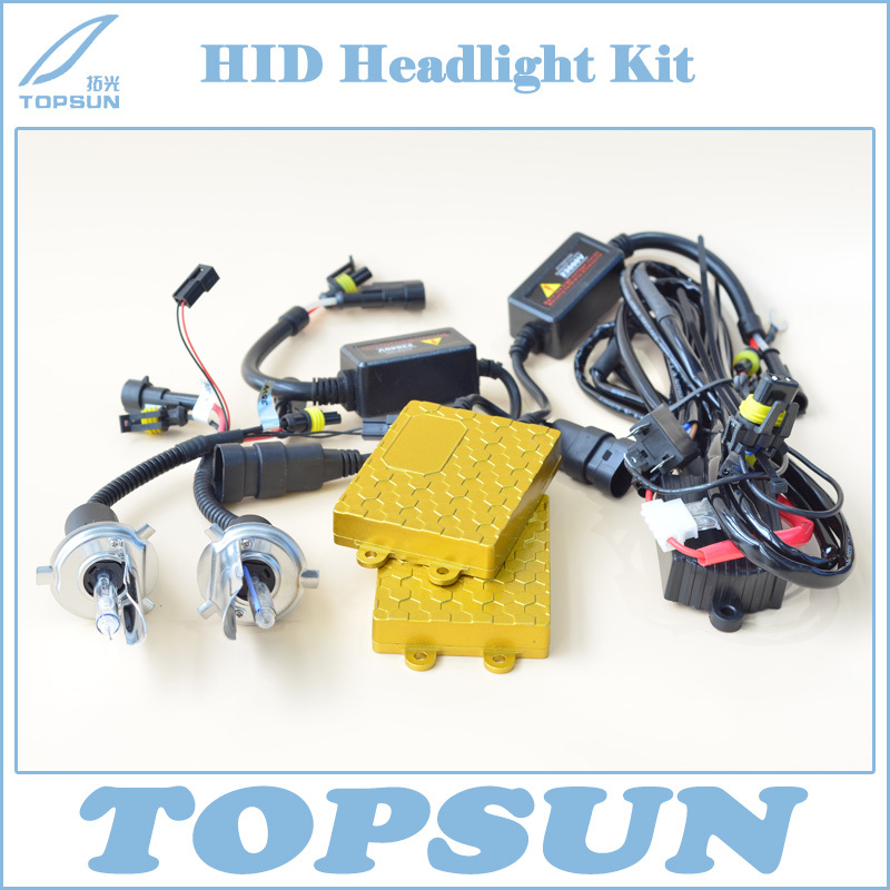 цена на Free Shipping 24V 55W HID Xenon Headlight Conversion Kit, Ballast, Bixenon H4 Swing Angle Bulb and High/Low Beam Control Wire