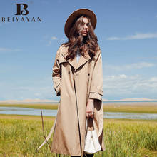 BEIYAYAN New Arrival 2017 Women Trench Autumn Winter Black Khaki Wide-waisted Long Style Coat for Woman