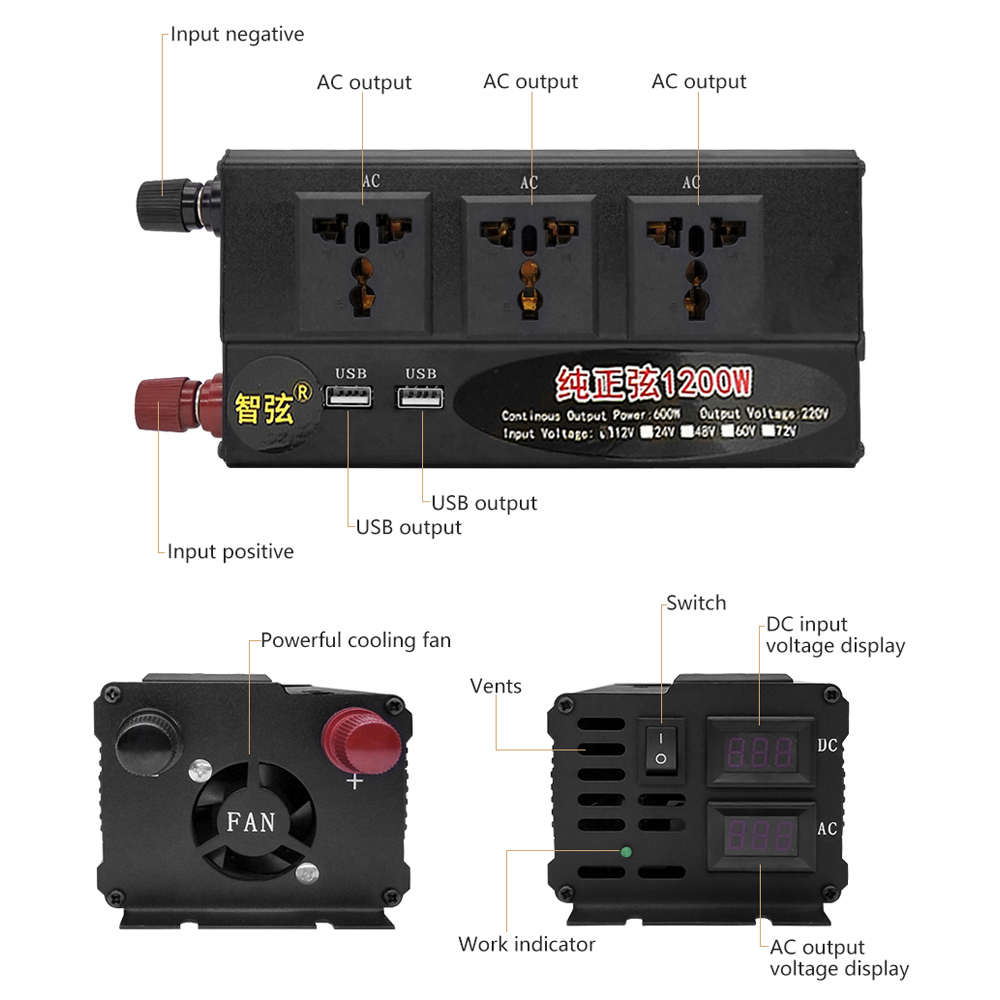 SUNYIMA 1200W czysta fala sinusoidalna inwerter DC12V/24 V/48 V do AC220V 50HZ podwójny wyświetlacz cyfrowy podwójny przełącznik USB konwerter zasilania Booster