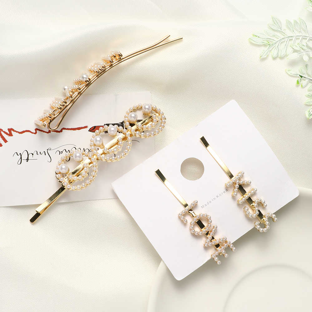 1pcs New Korea Chic Initiation Pearl Face Hairpins Women Fashion Letter LOVE KISS Metal Gold Color Hair Clips Hair Accessories