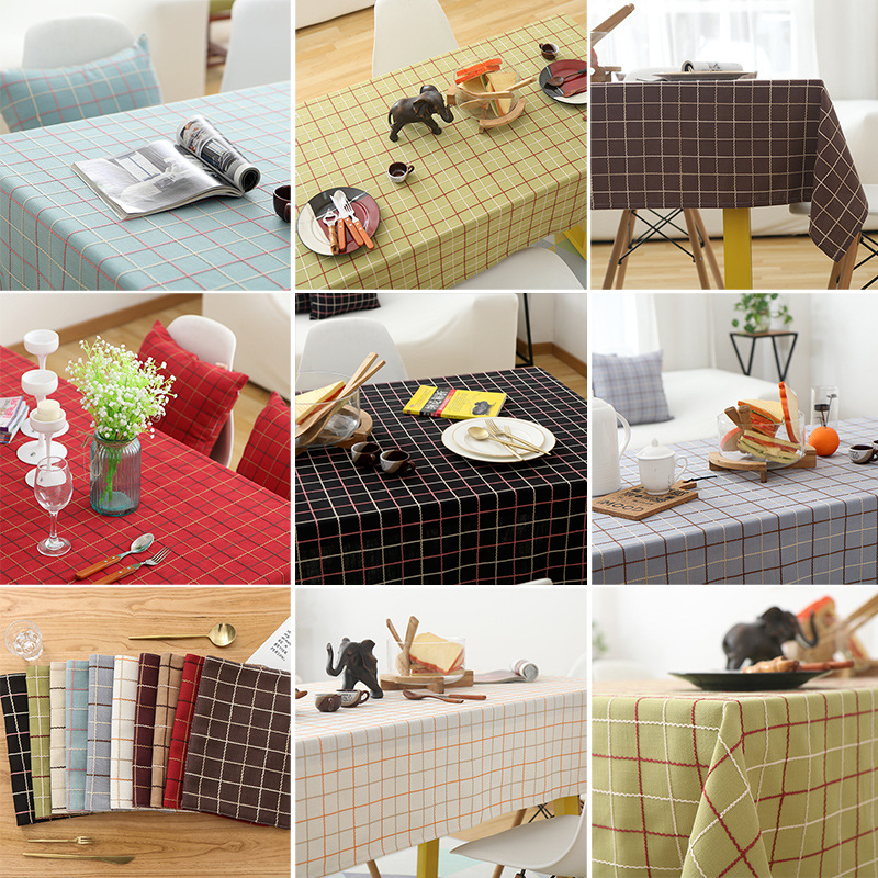 Pastoral Cotton Linen Tablecloth Colorful Embroidered Plaid Striped Pattern Rectangle Table cloth Big Round Dining Table Cover