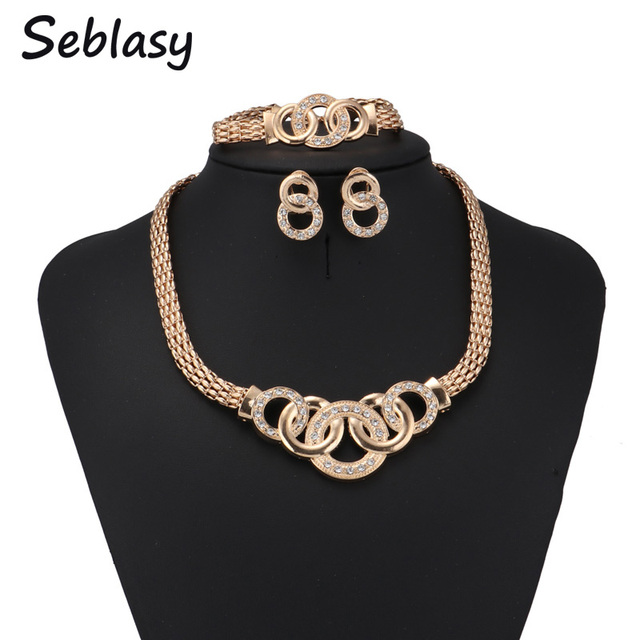 Seblasy Female Bridal Wedding Jewelry Sets Crystal Cross Necklaces Bracelets Earrings Rings Sets For Women Party Jewelry