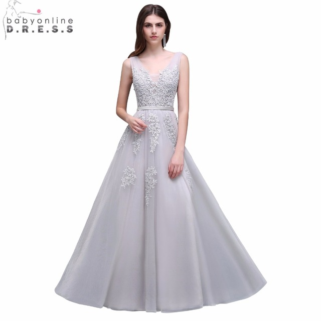 Babyonline Sexy V-Neck Silver Lace Applique Long Prom Dresses 2019 Backless Formal  Party Dresses Evening Gowns robes de soiree 3e95c7361d0