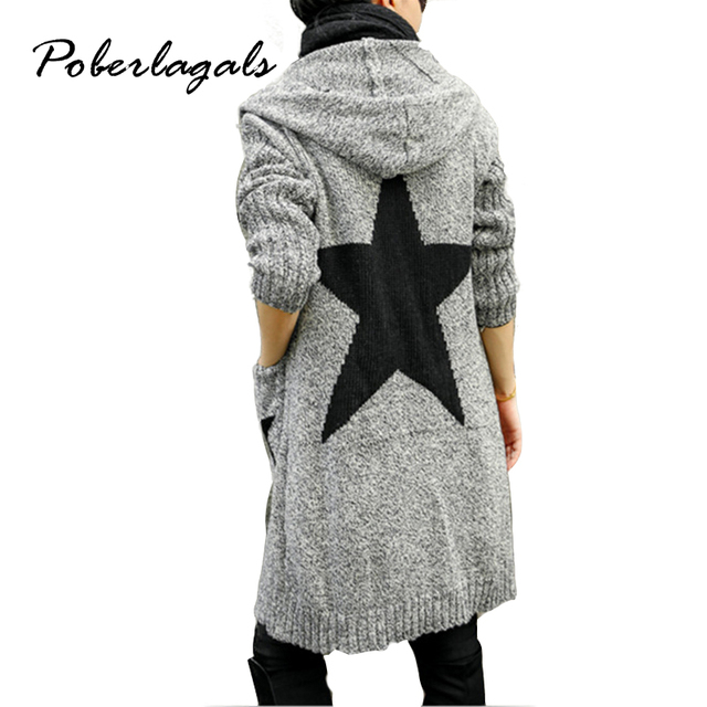2016 Autumn Winter Fashion Women Print Thicker loose hooded Long knitting Cardigan sweater Womens Knitted Cardigan pull Female