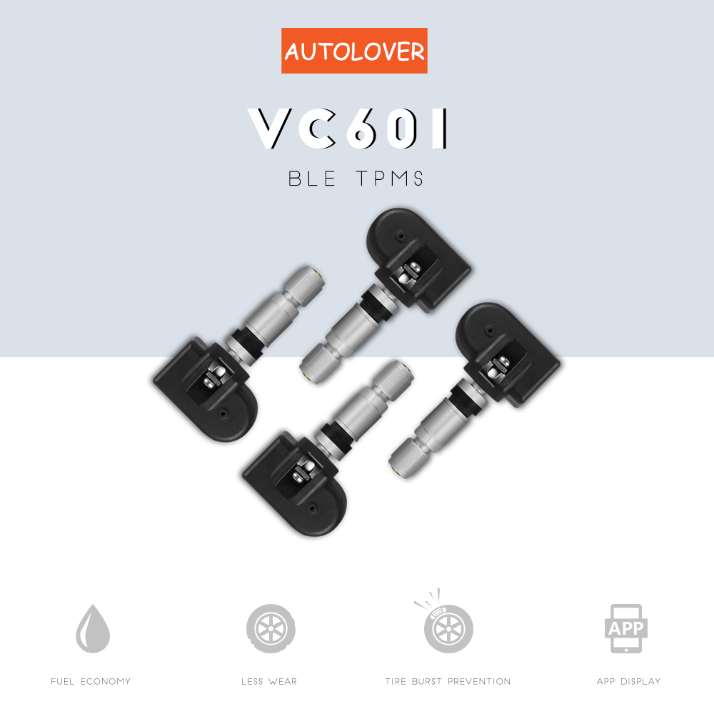 AUTOLOVER VC601 Car BLE TPMS Reliable Alarm Waterproof Tire Pressure Monitoring System Support APP Function