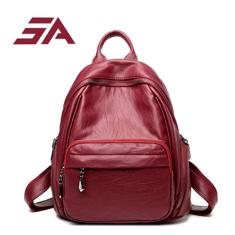 SA рюкзак для женщин большой емкости сумка в повседневном стиле Красная твердая Книга Сумка Женская Студенческая дорожная известный бренд модная сумка