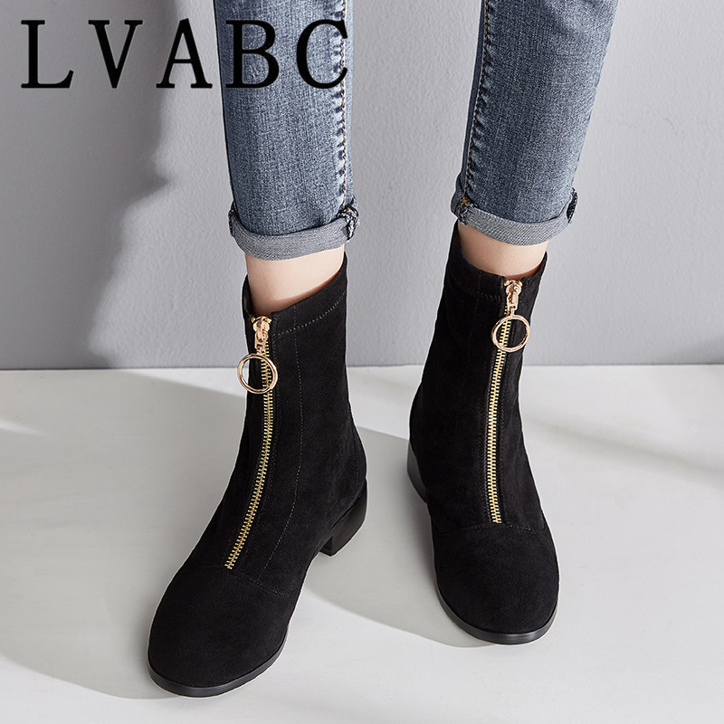 LVABC 2019 Women Ankle Boots Platform Zipper Cow Suede Fashion Elegant Square High Heel Women Motorcycle