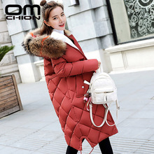 OMCHION Chaqueta Mujer 2018 Large Faux Fur Winter Jacket Women Thicken Hooded Down Cotton Padded Coat Plus Size Parka XXXL NY15