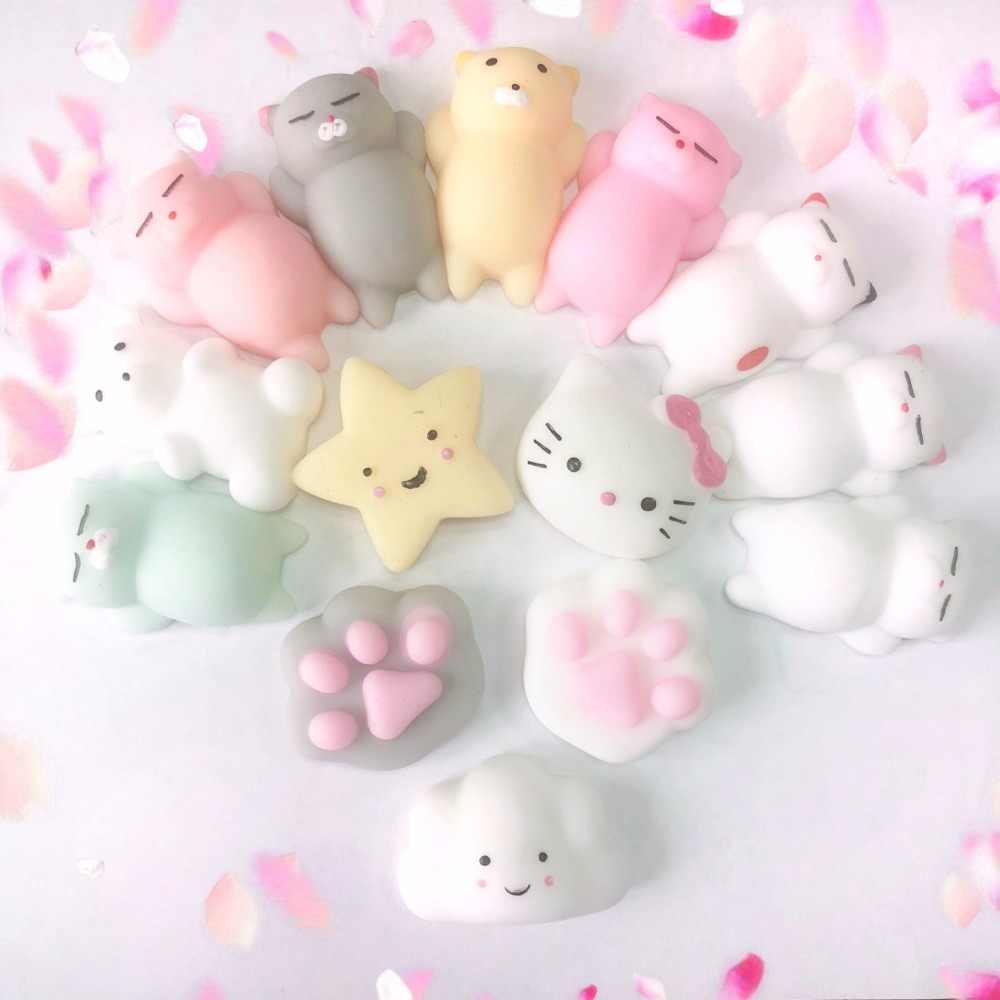 Mini Licin Mainan Hewan Lucu Bola Squeeze Mochi Naik Mainan Abrasive Sponge Lembut Lengket Squishi Stres Relief Mainan Hadiah Lucu