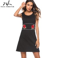 Nice Forever Causal Brief Solid Color Embroidery Rose Patchwork Vestidos Sleeveless Women Straight Loose Shift Dress