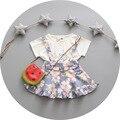 Muchachas del verano fija sandía bebé de la camiseta + de la flor de la correa vestido de traje ropa de bebé 2 unids recién nacido que arropan el vestido infantil