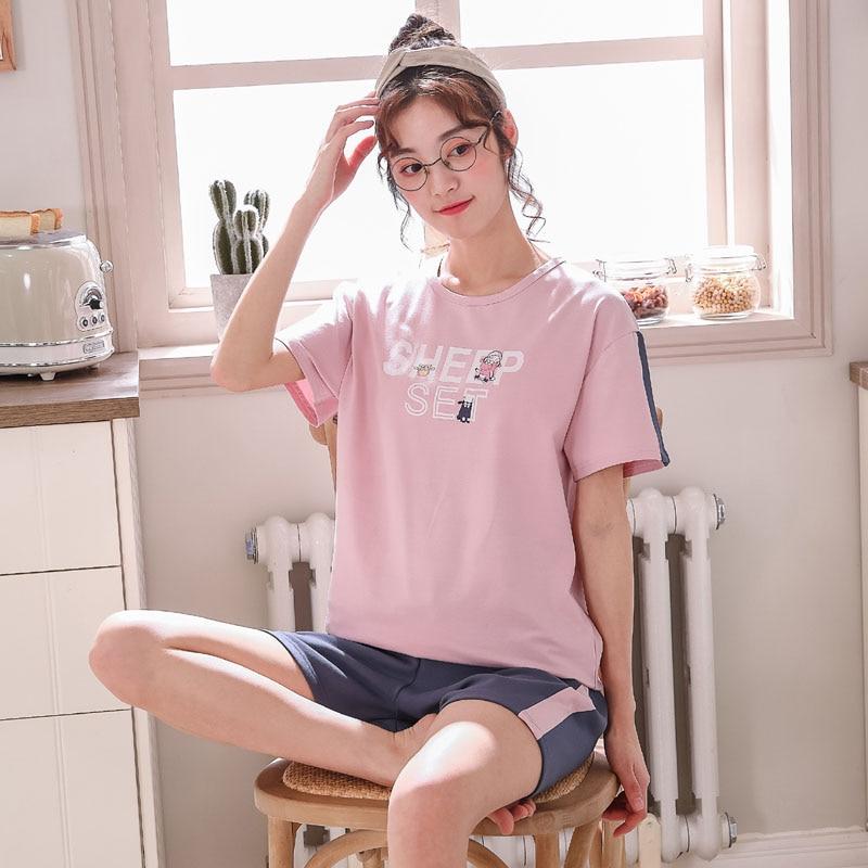 Cotton   pajama     set   plus size XXXL letter & cartoon sheep summer pijama women lovely home wear shorts woman 2019 PHOENTIN FG035
