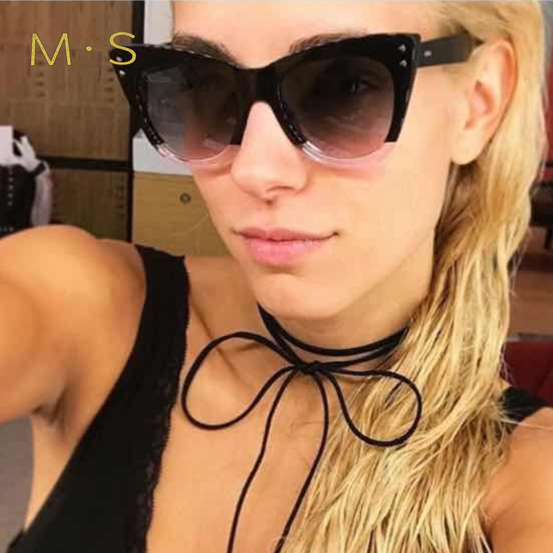 MS 2017 N Sunglasses WomenFashion Designer Eyewear UV400 Female CatEye Sun Glasses Brand Points Sun Girl J40
