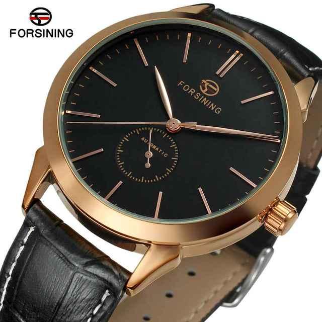 Forsining montre bracelet homme cuir marron