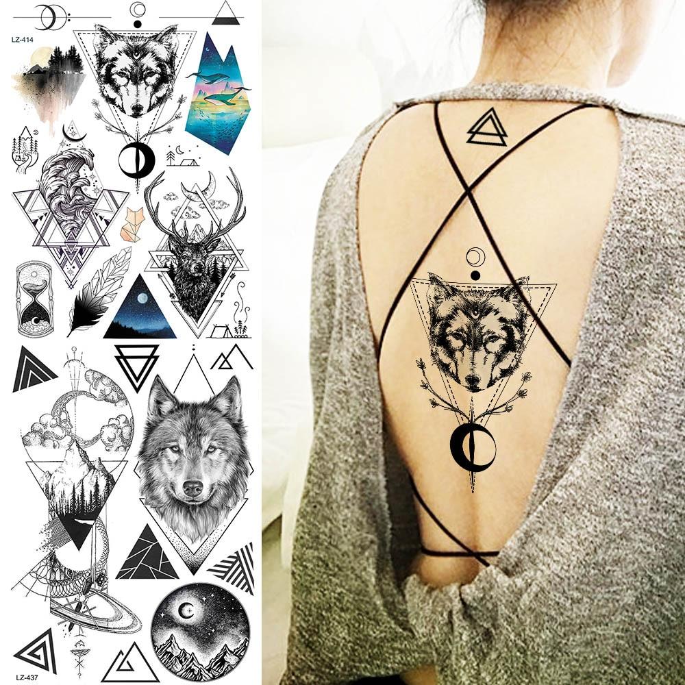 Geometric Sketch Wolf Waves tatuajes temporales calcomanías falso impermeable mujeres hombres tatuaje cuerpo cuello brazo Luna personalizado tatuajes Foream