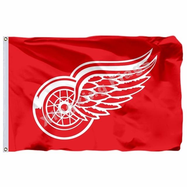 59d5b15e71b Detroit Red Wings Flag 3ft x 5ft Polyester NHL Banner Detroit Red Wings  Flying Size No.4 90 150cm Custom flag