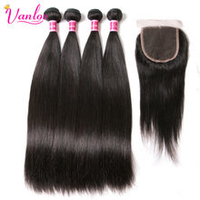 Vanlov Brazilian Straight Hair Bundles 4 Bundles With Closure Human Hair Bundles With Closure 1B#/1# Non Remy Hair Extensions(China)