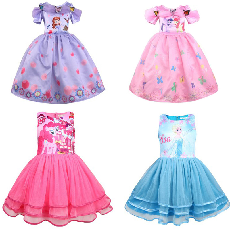 2018 New Arrival Dresses my little Girls Anna Elsa Cosplay Costume Kid's Party Princess Dress Kids baby Girl pony Clothes moana summer my baby girl fashion cotton dress children clothing girls little pony dresses cartoon princess party costume kids clothes