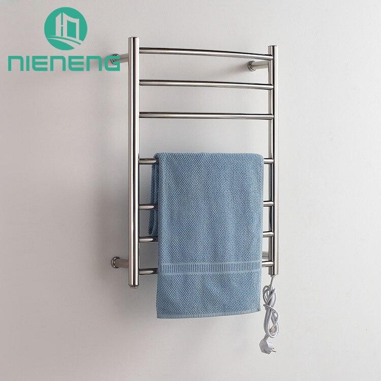 Nieneng Electric Towel Holder 304 Stainless Steel Heated Towel Rack Chrome Heater Curved Bathroom Warmer Set Bath ICD60581