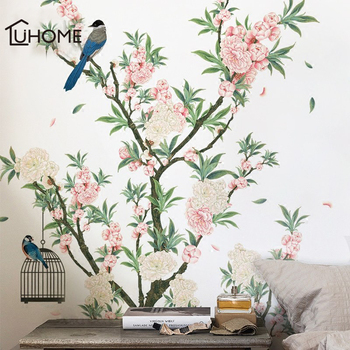 Charming Romantic Apricot Flower Wall Sticker for Living Rooms Apricot Tree Birds Wall Decal Bedroom Sofa Decoration Wall Art фото