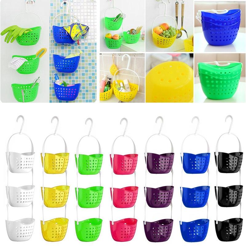 New 3 Tier Shower Bath Rack Plastic Hanging Over Basket Tidy Bathroom Kitchen Organiser Holder @LS