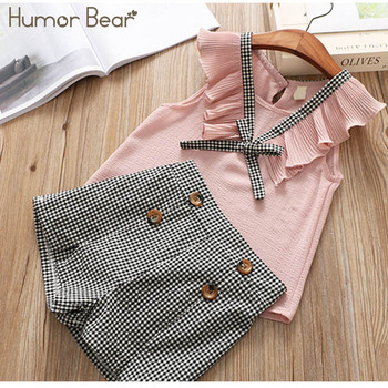 Humor Bear Baby Girls Clothes Sets 2019 Summer Dot flying sleeve top+strap dress+Headband 3-piece kids Children's Clothing Suit 4