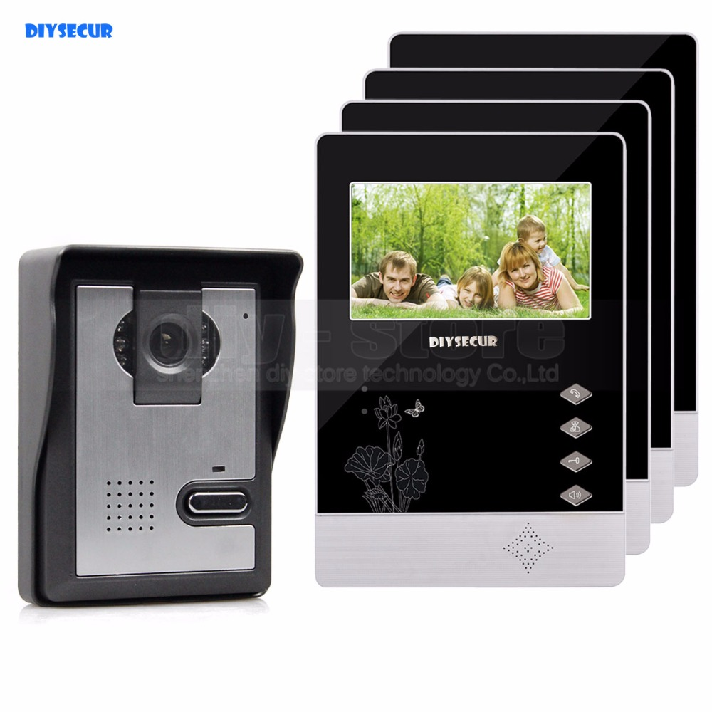 DIYSECUR 4.3 inch Indoor Monitor + 600 TVLine HD Camera IR Night Vision Video Door Phone Video Intercom 1V4 ...