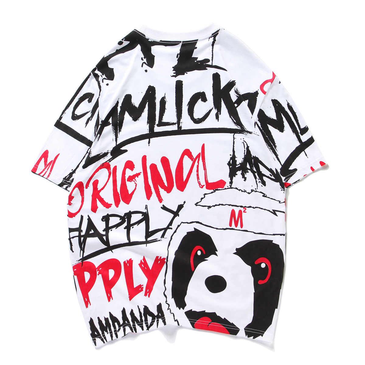 Brief Cartoon Panda Gedruckt Mode Streetwear Casual Baumwolle Top Tees Sommer Lose Plus Größe S-5XL Kurzarm Herren T Shirt