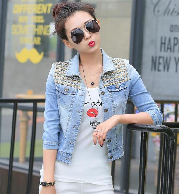 Fashion 2015 Autumn Women's Jeans Loose Denim Jacket Women Short Jean Jacket jackets for women h555
