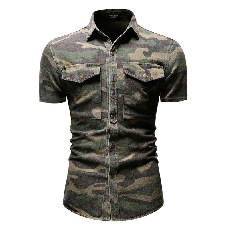 Offre spéciale hommes chemises Double poche Camouflage hommes chemises M-3XL hommes à manches courtes chemise