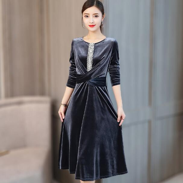 Women's Clothing Xikoi New Velvet Dresses For Women 2018 Spring Autumn Vintage Round Neck Long Sleeve Pleated Velour Party Dresses With Sash