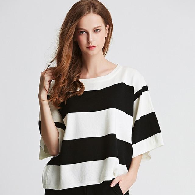 Gestreepte Trui Zwart Wit.Mode 2017 Lente Zwart Wit Gestreepte Trui Vrouwen O Hals Gebreide