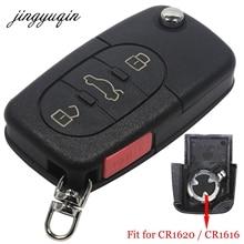 Jingyuqin флип Брелок дистанционного Оболочки чехол для VW Passat Jetta Гольф Beetle 4/3 + паника Пуговицы Fit CR1616/CR1620
