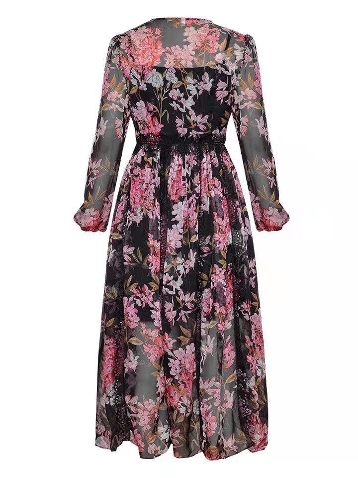Noir Ah02679 Européenne Femmes Luxe Nouvelle De Marque Qualité Style Robe Mode Design rose Partie Printemps Supérieure 2019 1Pq1Zzrw