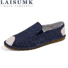 2019 LAISUMK Fashion Men Casual Shoes Spring Summer New Peking Comfortable Slip-on Canvas