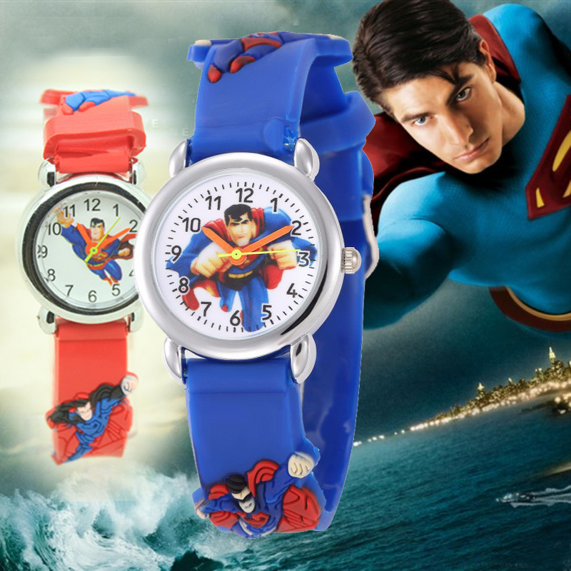 Dropshipping Children Cartoon Superman Watch For Girls Boys Pupils Students Clock Silicone Quality Kids Watches Christmas Gift