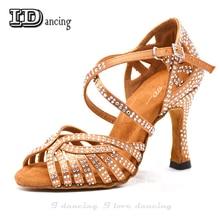 Dance Jazz Shoes Latin Dance Shoes For Women Salsa Latin Shoes Girls Ballroom Latin Shoes Black Bronze Skin Curban Heel