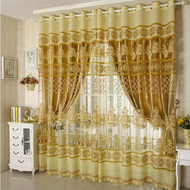 Fashion brief floral curtain window screening full shade curtain ready made customized curtain