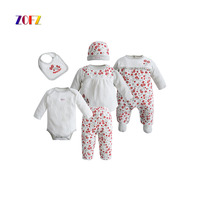 ZOFZ 2017 Baby Cloting Sets 6pcs Set Fashion O Neck Floral Baby Girls And Boys Clothes