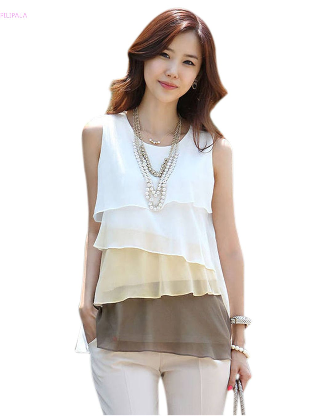 New Korean Fashion Fresh Women Ladies Multi layered Sleeveless ...
