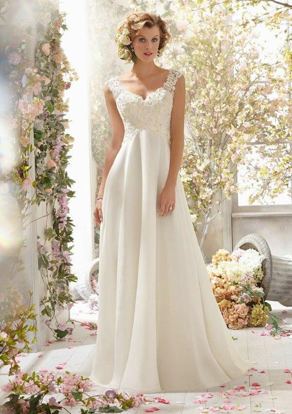 Elegant Backless Sleeveless Appliques Beaded Floor Length A Line Chiffon White Cheap 2018 Vestidos De Novia   Bridesmaid     Dresses