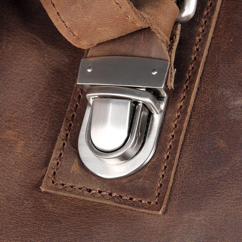 Nesitu Promotion Vintage haute qualité marron fou cheval en cuir hommes Messenger sacs en cuir véritable homme sac à bandoulière M6002L - 6
