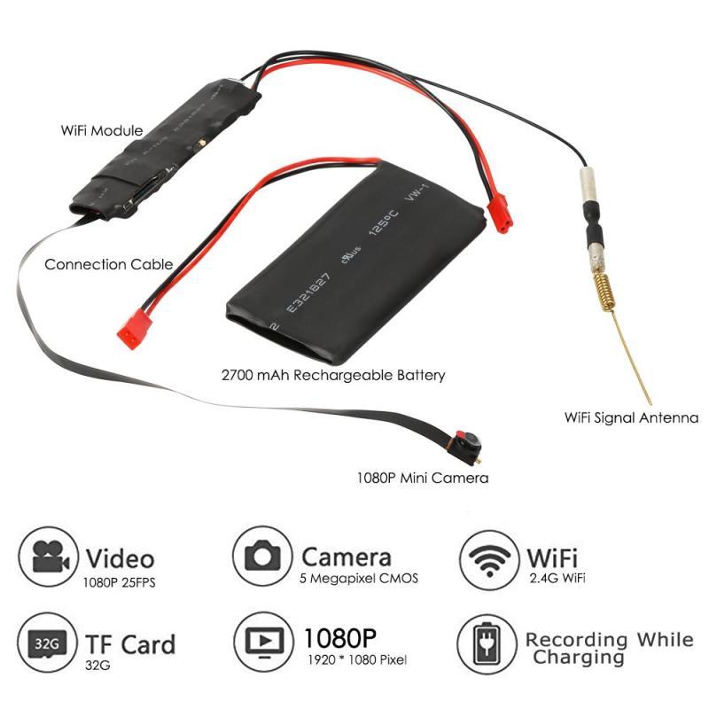 DIY Mini Macchina Fotografica Macchina Fotografica di Wifi Full HD 1080 P Videocamera P2P Video di Rilevazione di movimento di Sicurezza con 2.4G RF Telecomando FAI DA TE fotocamera