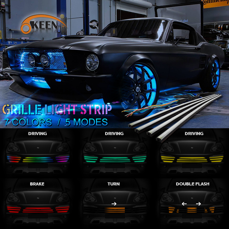 OKEEN 4Pcs RGB Flexible Switchback LED Knight Rider Strip Dynamic streamer led car-styling Front Grille light strip Bar 60cm 12V front grille led emblem logo light 4 colors abs decorative grill lamp for f ord r anger t7 2016 2017 car styling