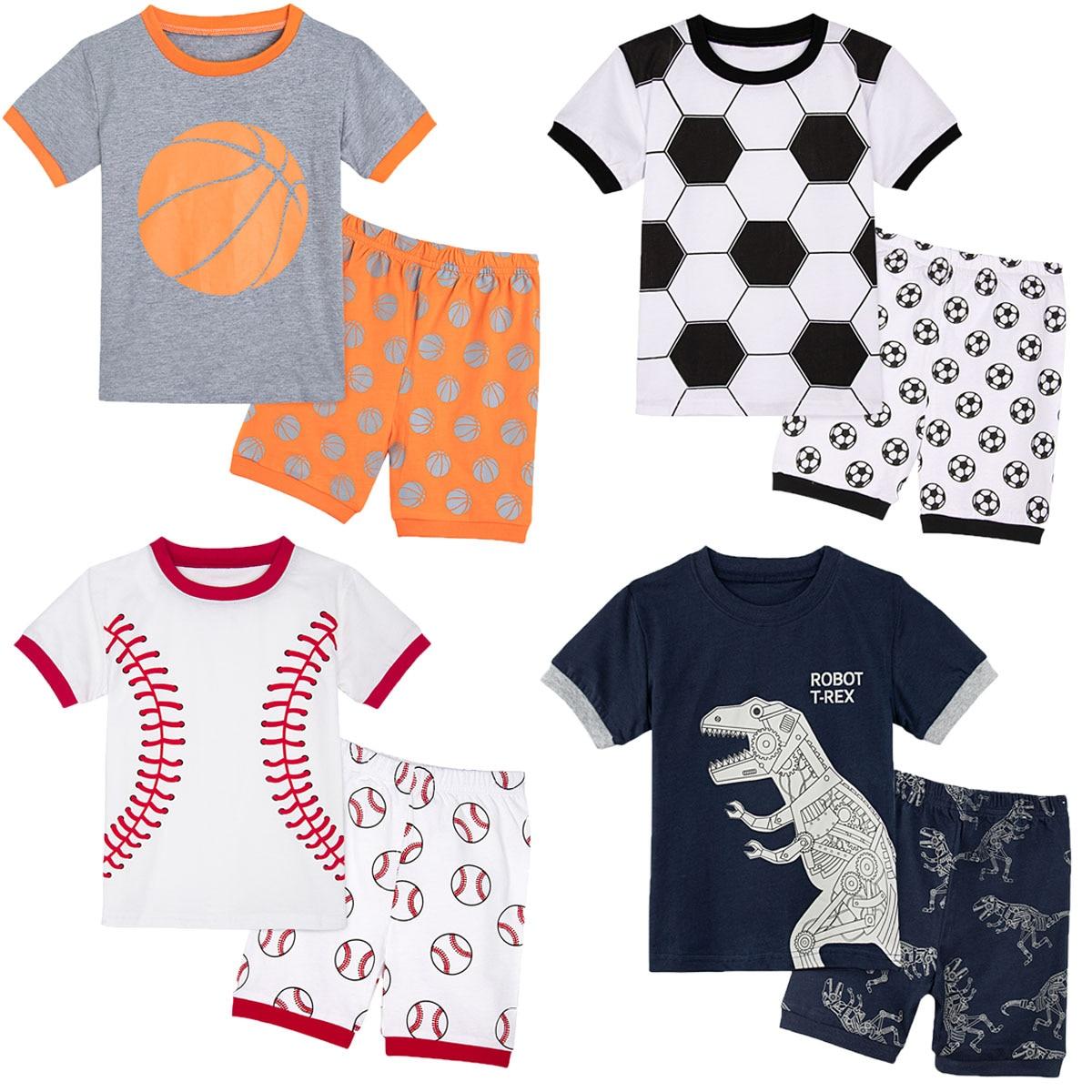 Kids Boys Robot T-rex Dinosaur Football Baseball Basketball Pyjamas Set Toddler Soccer Pajamas Children Print Nightie 2PCS
